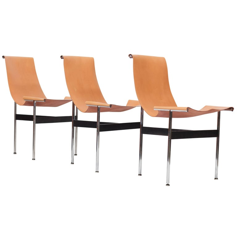 Laverne International T Chairs in Natural Cognac Leather