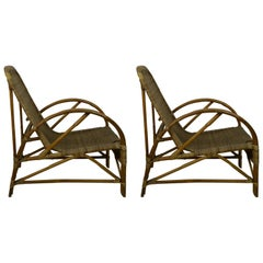 Pair of Vintage Midcentury Bamboo and Rattan Chairs
