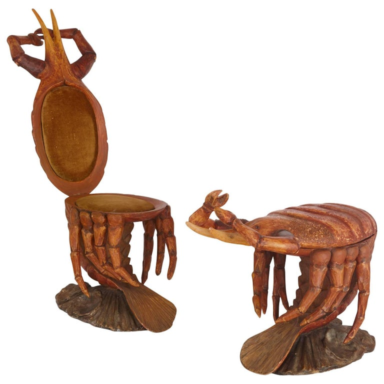 Pair of Italian Crab-Form Grotto Chairs, Attributed to Pauly et Cie, Venice For Sale