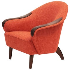 Stylish Danish Upholstered and Leather Club Chair, circa 1960