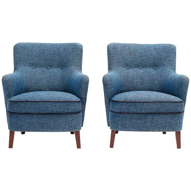 Pair of Danish Upholstered Armchairs, circa 1960