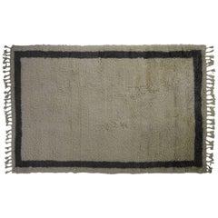 Atlas Ivory and Dark Grey Shaggy Wool Rug