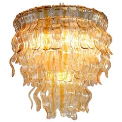 "Spectacular Amber Chandelier ""Waves"" by Mazzega, Murano, 1970s"