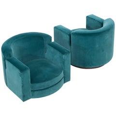 Pair of Milo Baughman Blue Velvet Lounge Swivel Chairs