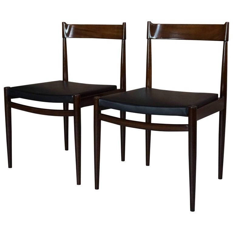 Pair of Teak Chairs and Faux Black Leather Design from the 1950s