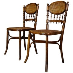 Pair of Curved Wood and Cane Chairs End of the 19th and Early 20th Century