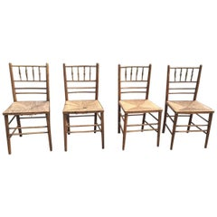 Morris & Co, Philip Webb Attributed, Four Arts & Crafts Sussex Side Chairs