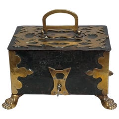 18th Century Brass and Iron Money Box, Little Strongbox or Treasure Chest