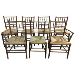 Morris and Co, Philip Webb Attributed, Seven Classic Arts & Crafts Sussex Chairs