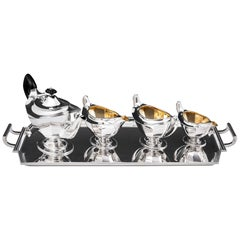Art Deco Sterling Silver Tea Set with Ebony Handles, 20th Century