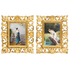 19th Century Pair of Berlin Plaques of Two Maidens in Gilt Florentine Frames