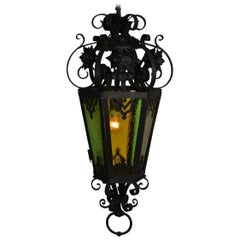 French Antique Wrought Iron Lantern with Colored Glass, Early 20th Century