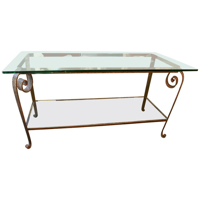 Glass and Wrought Iron Console, 1930s