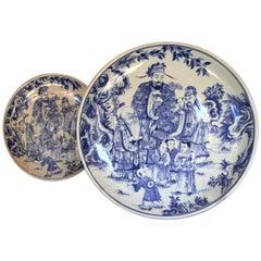 Pair of Huge Chinese Ceramic Plates, 20th Century