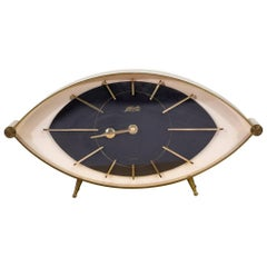 "Brass Eye Table Clock ""Atlanta"" Junghans, 1960s, Germany"