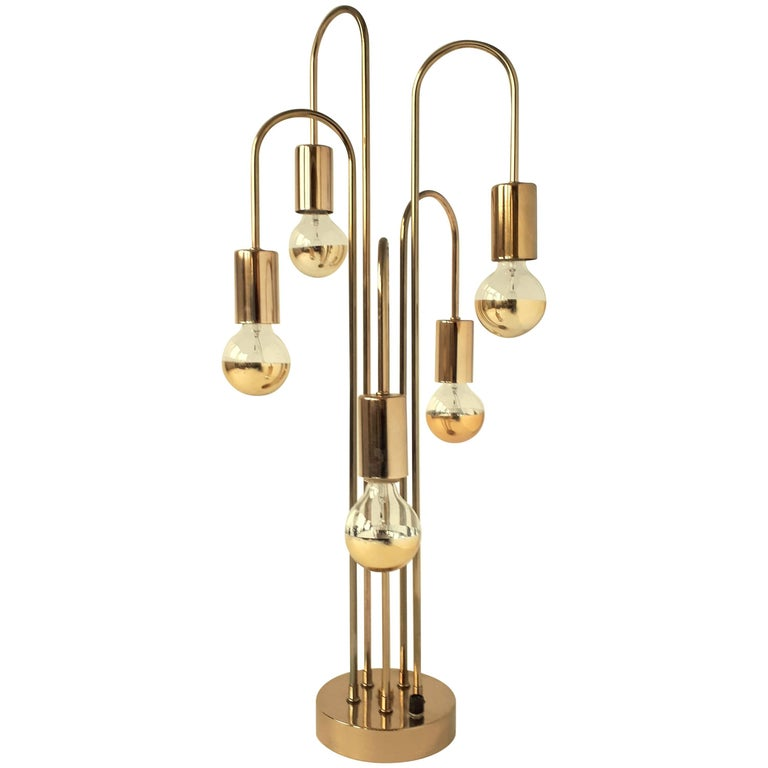 Waterfall Brass-Plated Table Lamp, 1970s, USA
