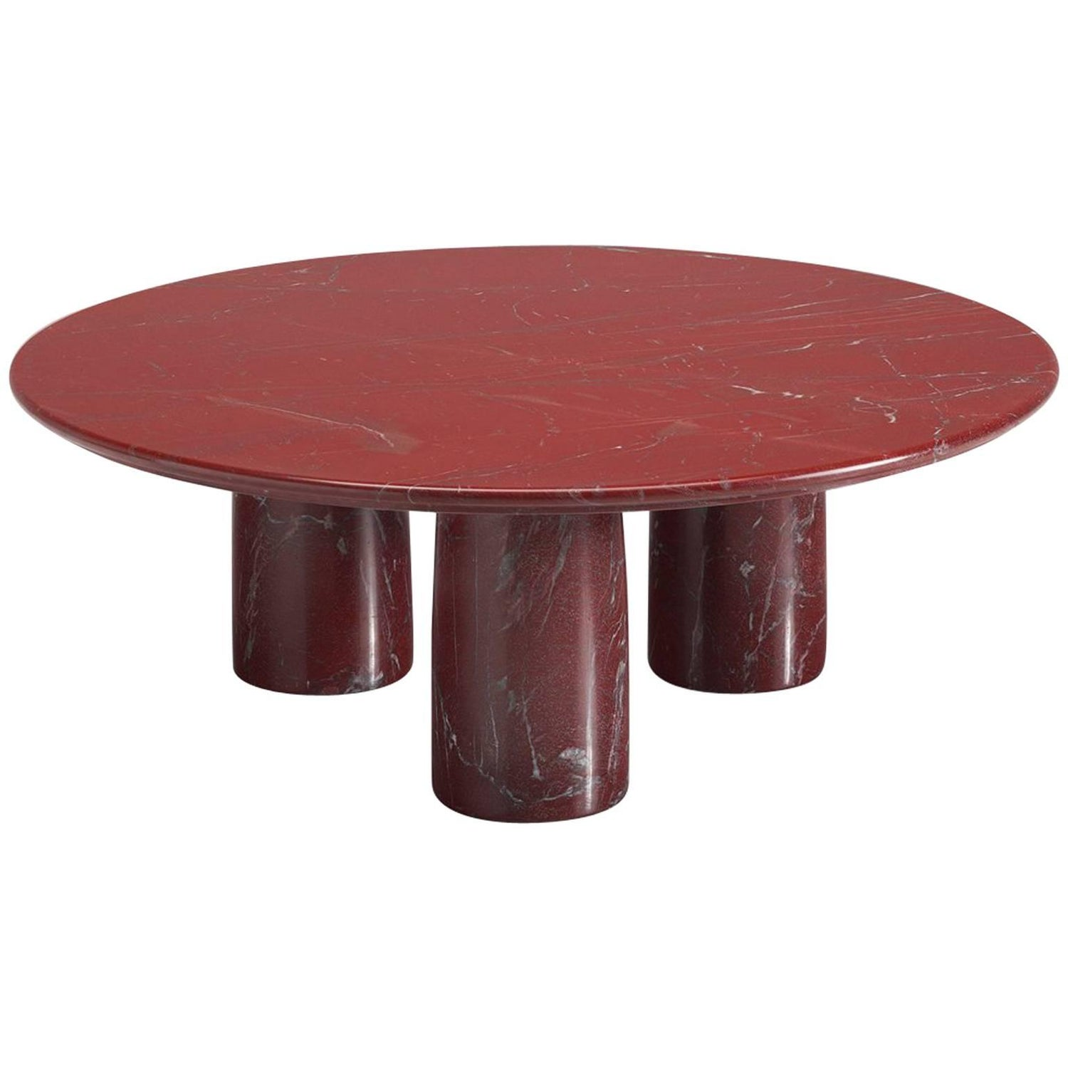 Mario Bellini for Cassina Red Limestone Side Table For Sale at 1stdibs