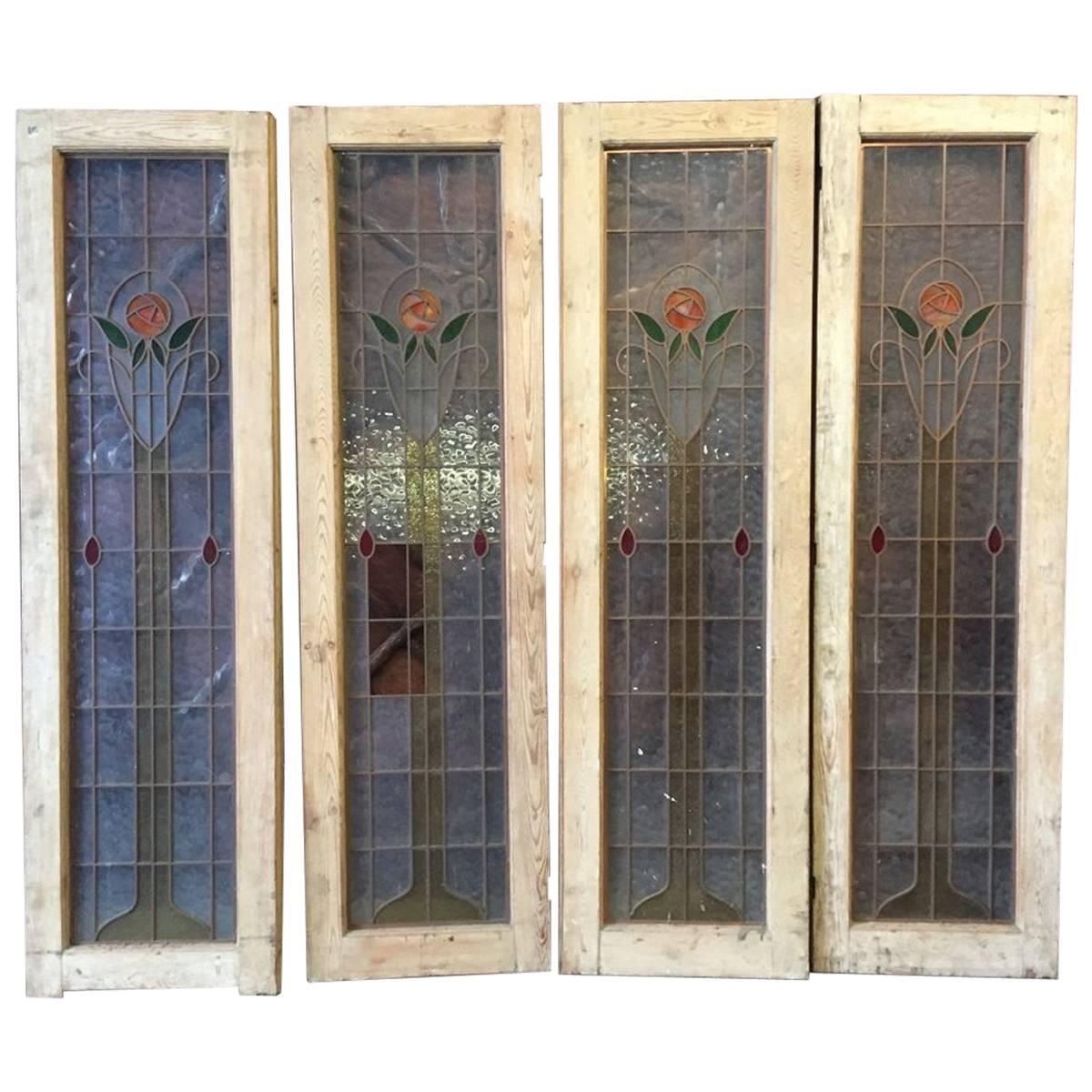 four arts u0026 crafts stained glass doors with stylized glasgow roses set in copper painted pine front