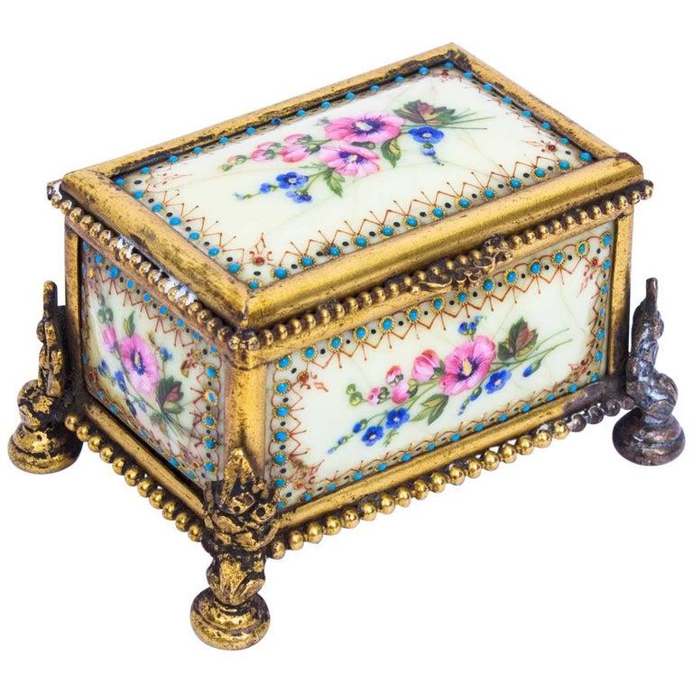 19th Century Ormolu-Mounted Limoges Enamel Jewel Casket Box