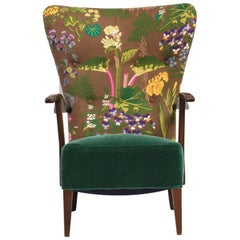 Danish Produced Lounge Chair, 1940s, Upholstered