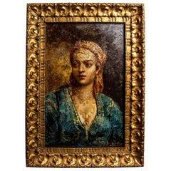 Portrait of Berber Girl Original Gilt Frame circa 1900, Signed Frédéric Borgella