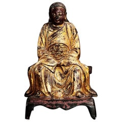 Late Ming Period Bronze, Lacquered and Gilded Zhen Wu