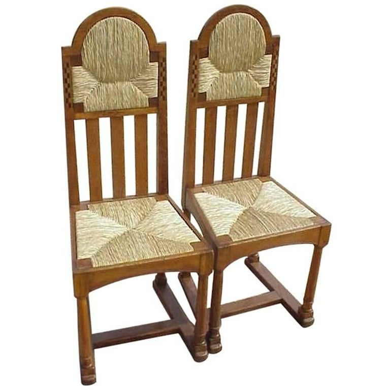 George Walton Attributed Pair Of Arts Crafts Chairs With Bold Chequer Inlays For