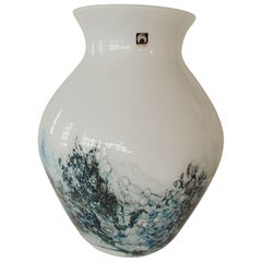 1980s Hugh Vase Hirschberg White and Blue