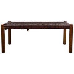 Naturel Brown Strap Woven Leather Bench, Style Jens Risom