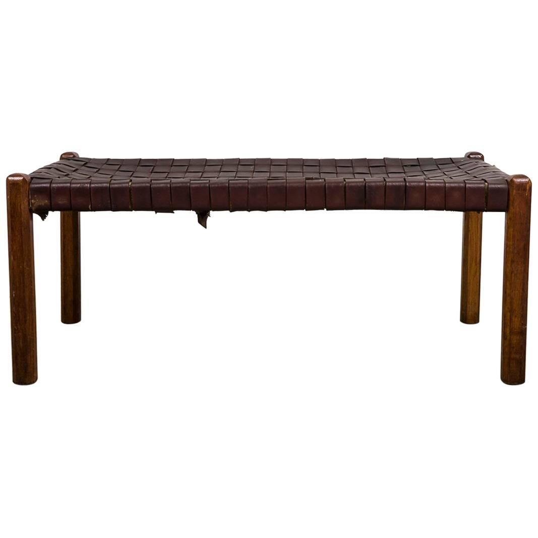 Naturel Brown Strap Woven Leather Bench, Style Jens Risom For Sale