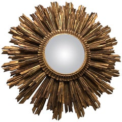Vintage French Giltwood Sunburst Convex Mirror
