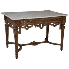 French Louis XVI Carved Walnut Salon Entrace Table with Carrara Marble Top