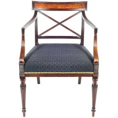 English George III Regency Gillows Mahogany Desk Chair in Black Horsehair
