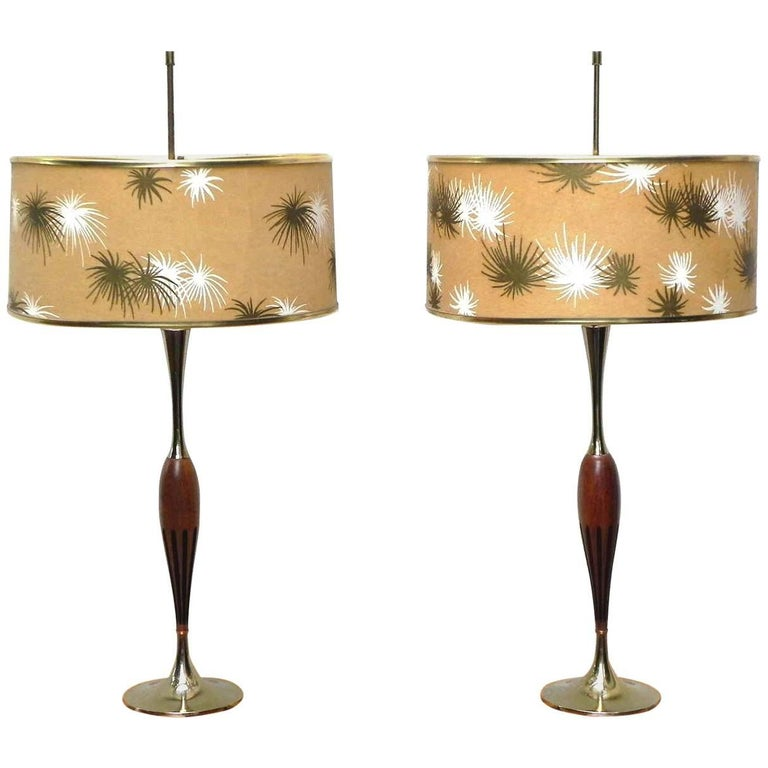 Pair of Walnut and Brass Laurel Lamps with Original Shades
