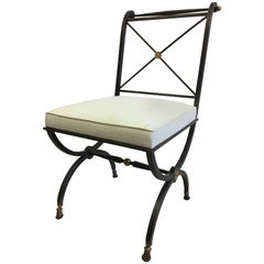 French Partially Gilt Wrought Iron Side or Desk Chair by Gilbert Poillerat