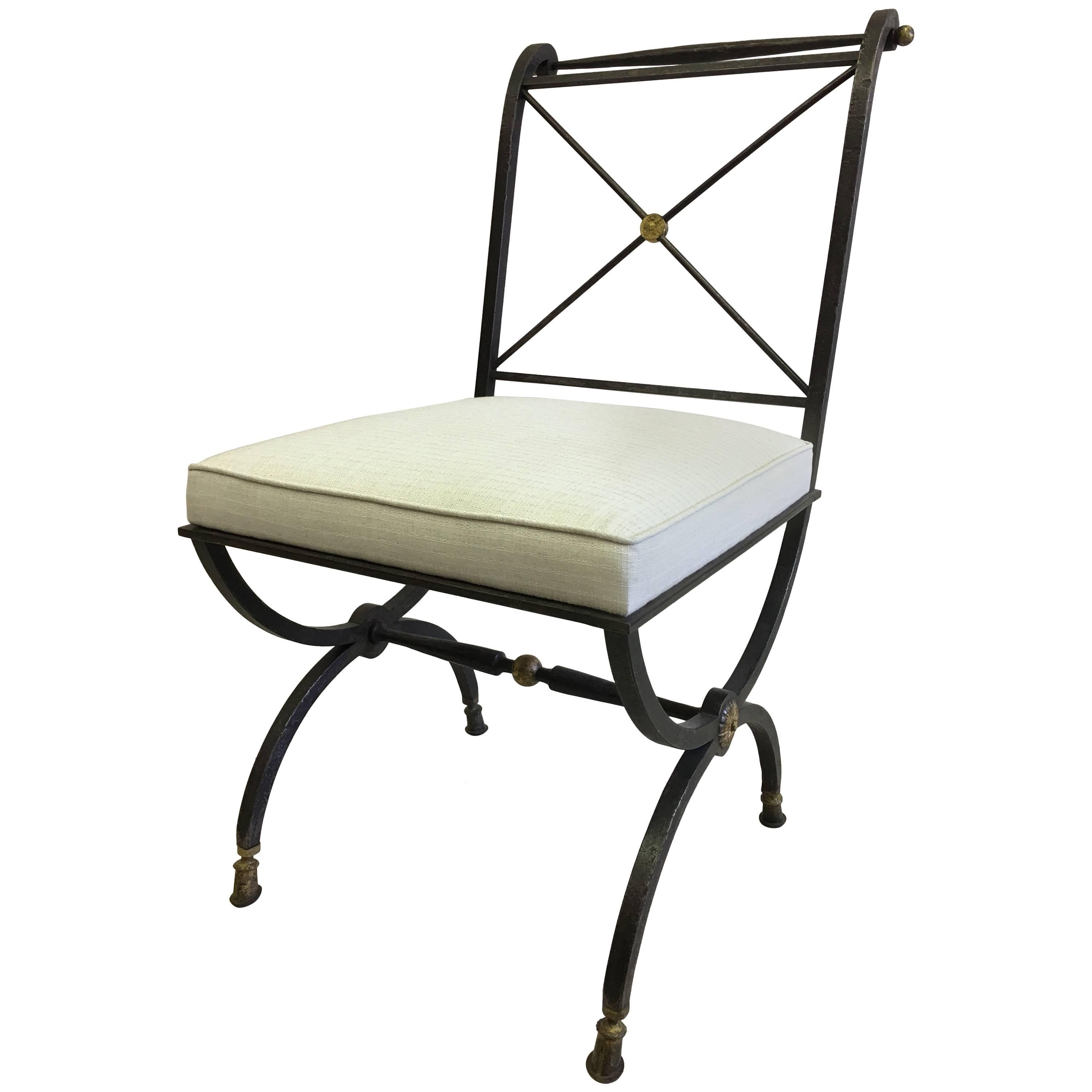 French Mid Century Partial Gilt Wrought Iron Side /Desk Chair, Gilbert  Poillerat For