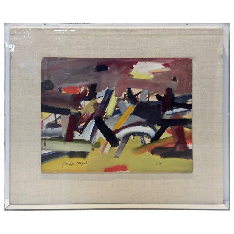 Midcentury Abstract Painting, Signed by Artist G. Napoli, Dated 1958