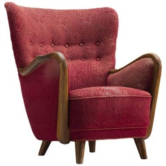 Danish Easy Chair in Red Original Upholstery