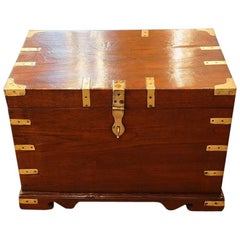 Victorian Teak Brass Bound Officers Chest