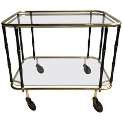 Midcentury Faux Bamboo and Brass Drinks Trolley/Bar Cart