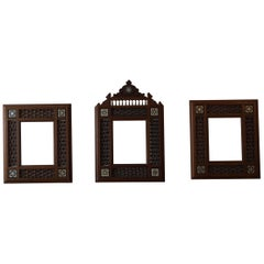 Rare Early 20th Century Handcrafted Set of Moorish Arabic Inlaid Picture Frames