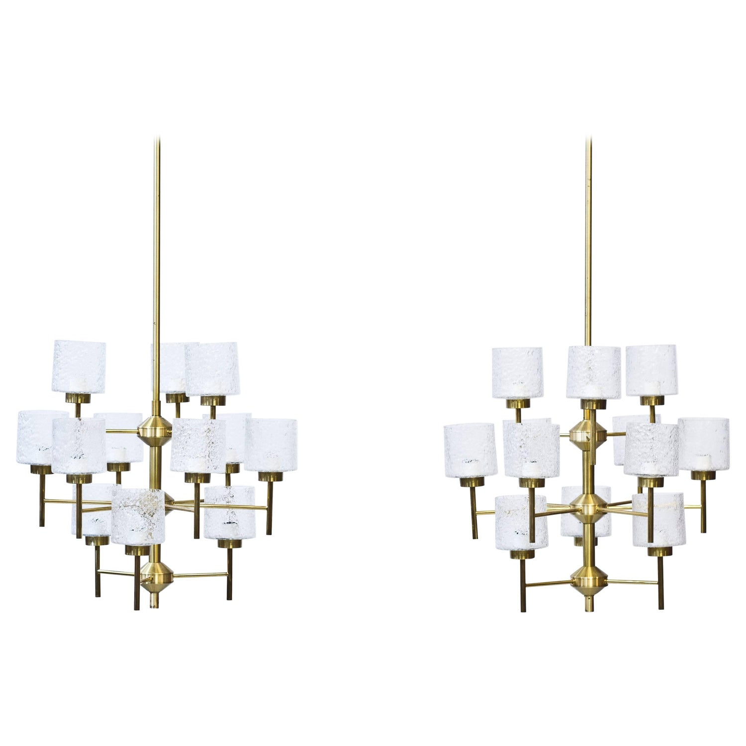 Five swedish chandeliers in brass and glass by holger johansson 1960s chandeliers by holger johansson mozeypictures Choice Image