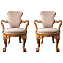 Pair of George IV Carved Oak Open Armchairs by Gillows