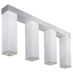Flush Mount White Glass Pillar Light Brushed Aluminum in the Manner of Bauhaus