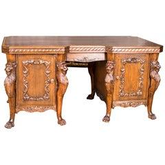 19th Century Neo-Renaissance Lion Desk from Oakwood