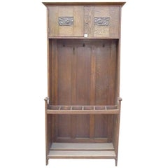 EA Taylor Attributed, Wylie & Lochhead Arts & Crafts Oak Hall Stand
