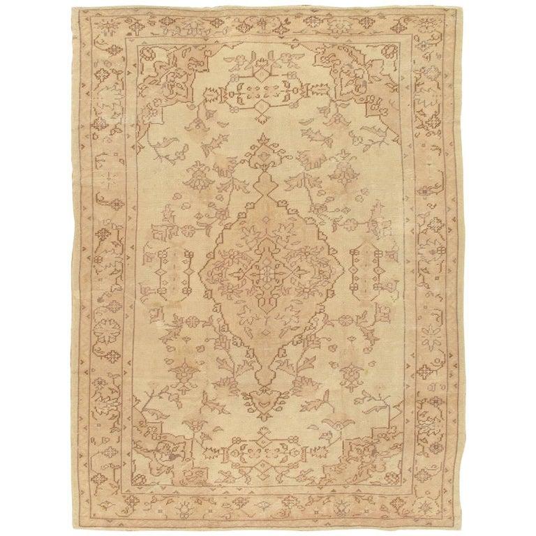Antique Oushak Carpet, Handmade Turkish Oriental Rug, Beige, Taupe, Soft For Sale