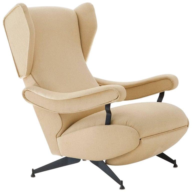 Italian Mid Century Modern Lounge Reclyning Armchair by Nello Pini 1960s