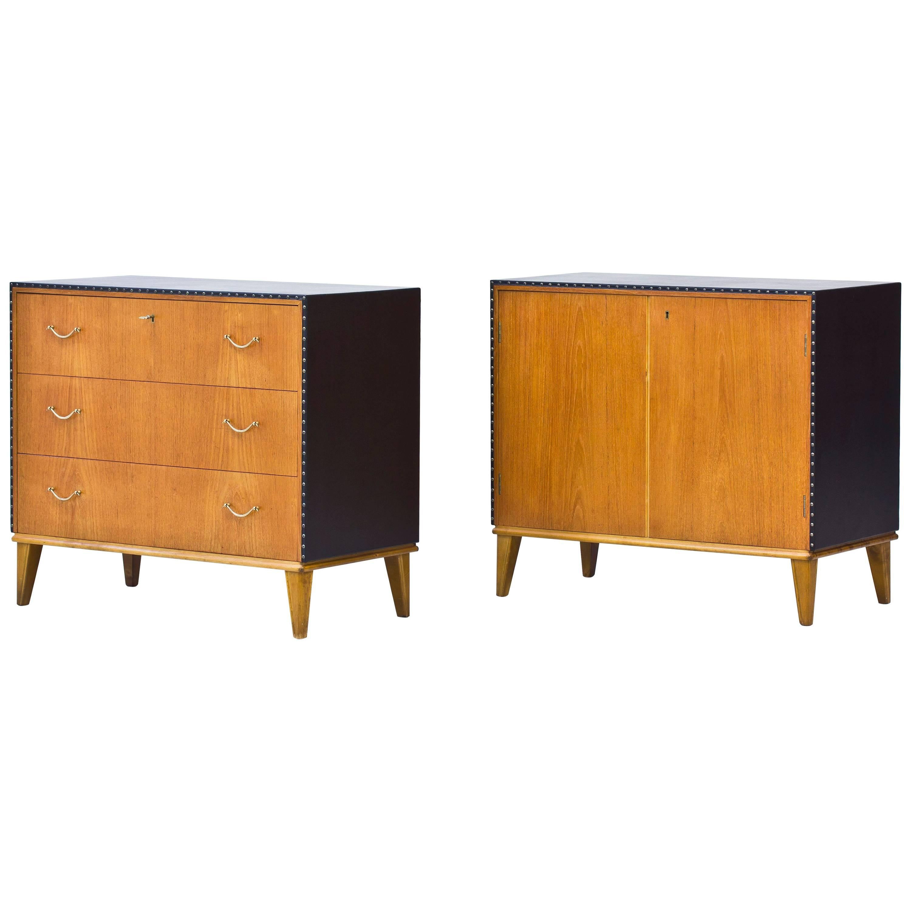 Matching Swedish 1940s Chest and Cabinet in the Style of Otto Schulz