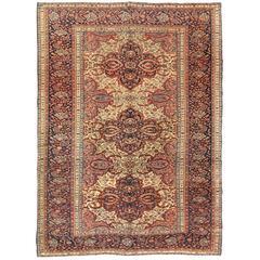 Antique Farahan Sarouk Carpet, Handmade Oriental Rug, Ivory, Navy, Pink, Fine